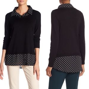 Adrianna Papell Polka Dots Twofer Sweater Blouse